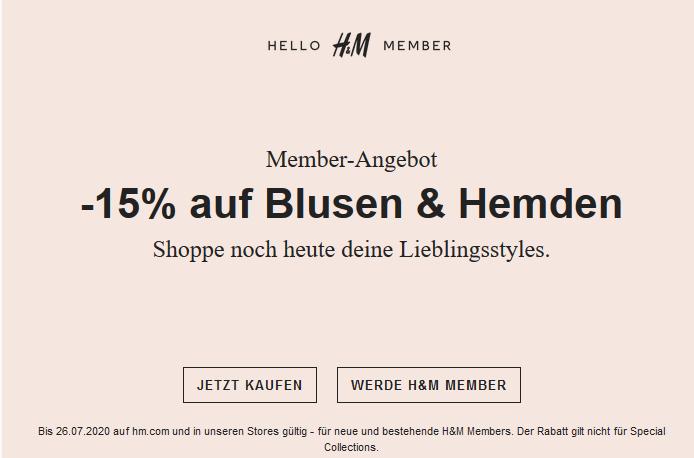 H&M Member-Angebot: -15% auf Blusen & Hemden