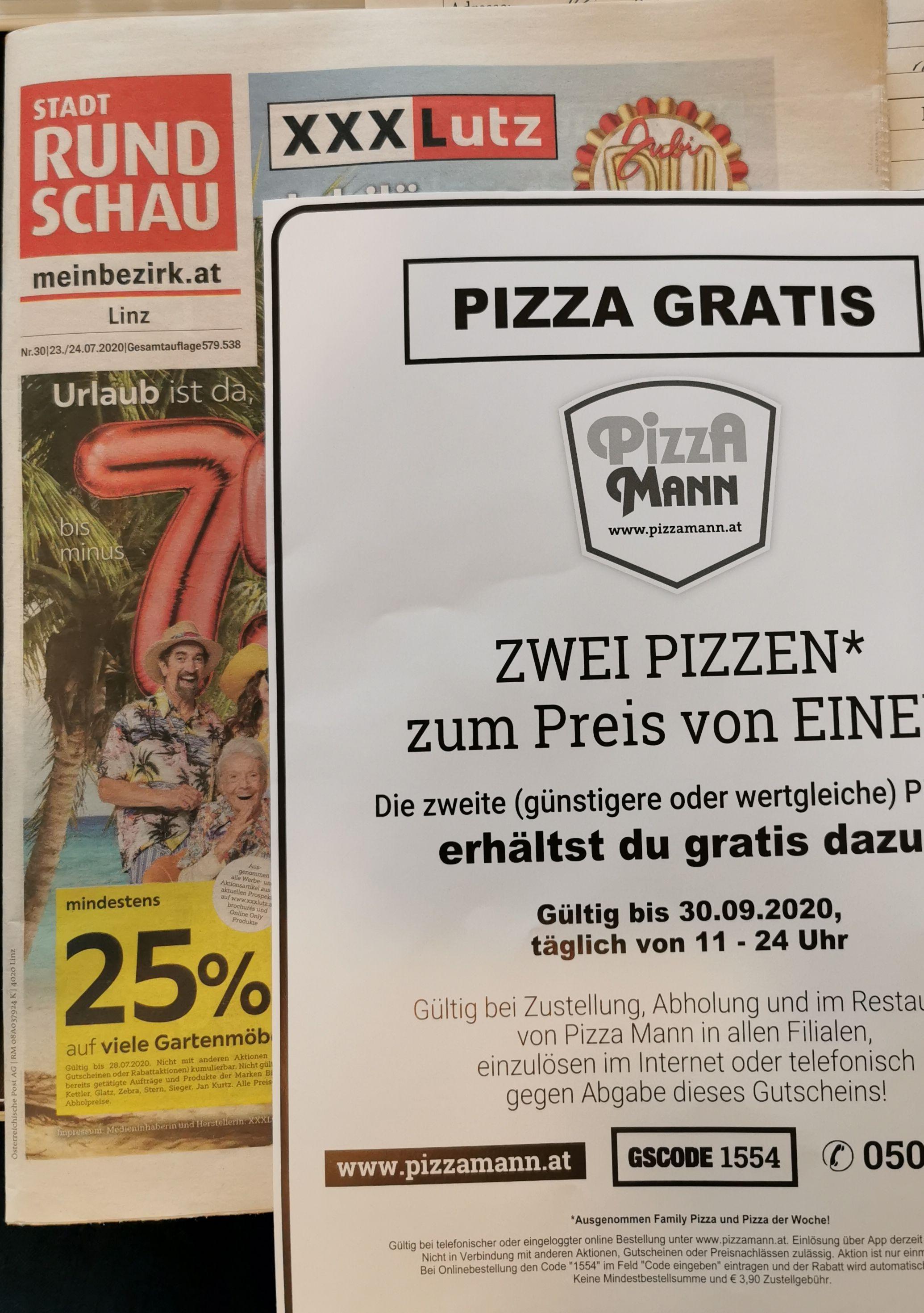 Pizzamann Gutschein liegt im Postkasten!