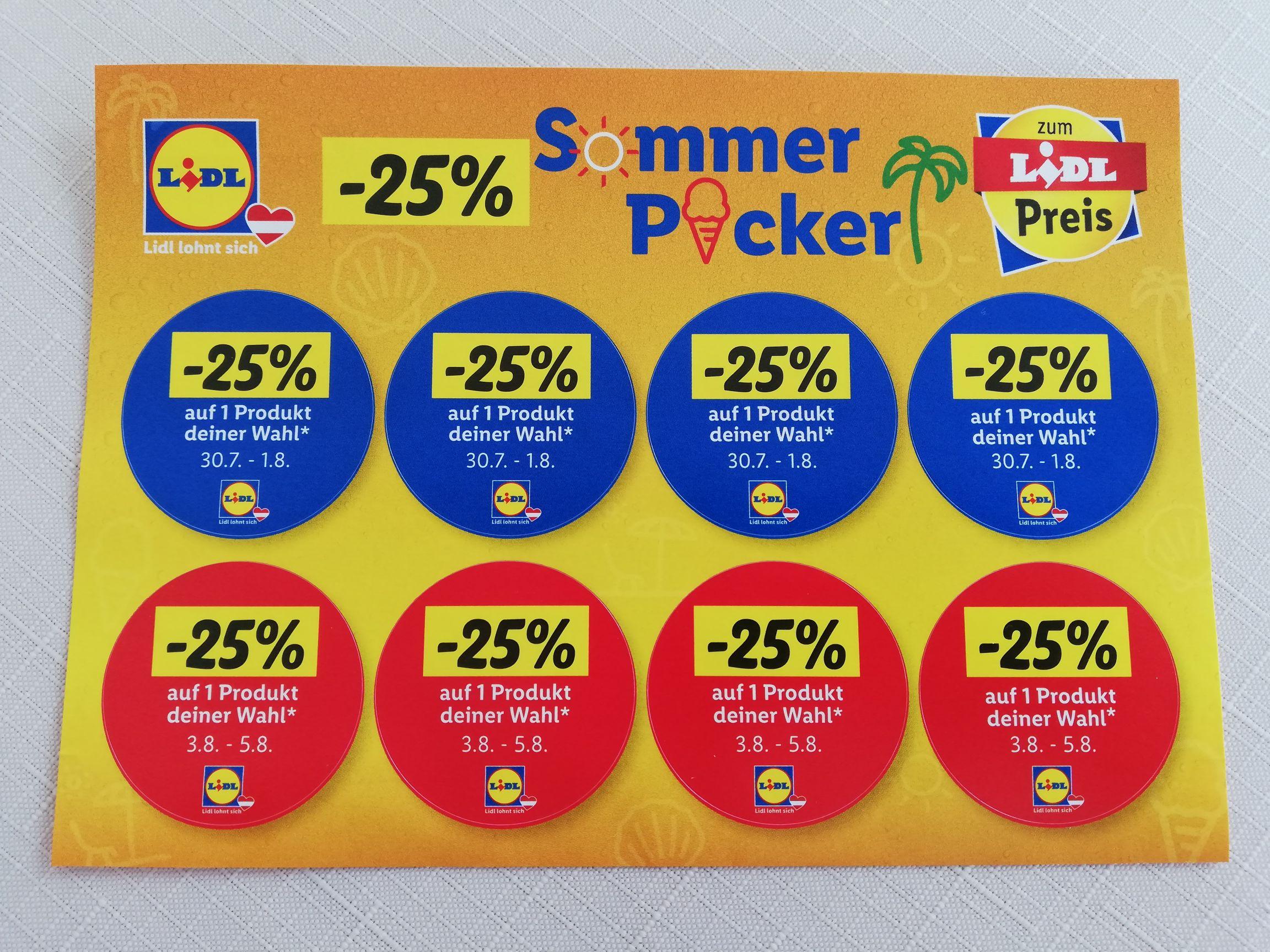 LIDL: 25% Sticker, gültig von 30.7. - 5.8.