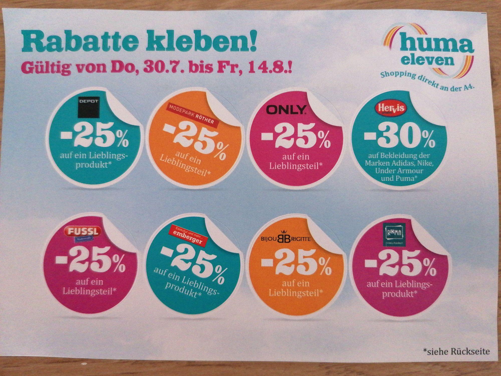 -25% im Huma Eleven bei Ausgewählten Shops