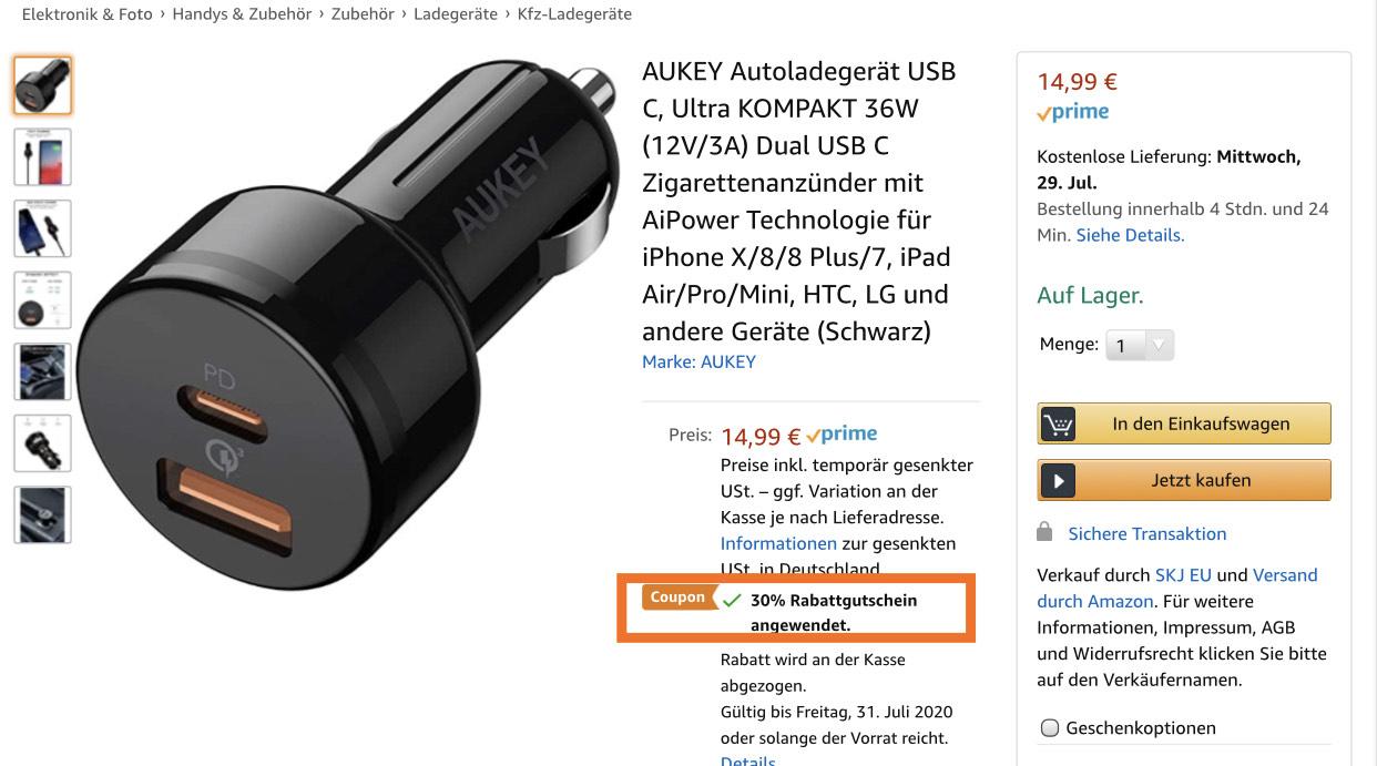 AUKEY 36W USB C Autoladegerät