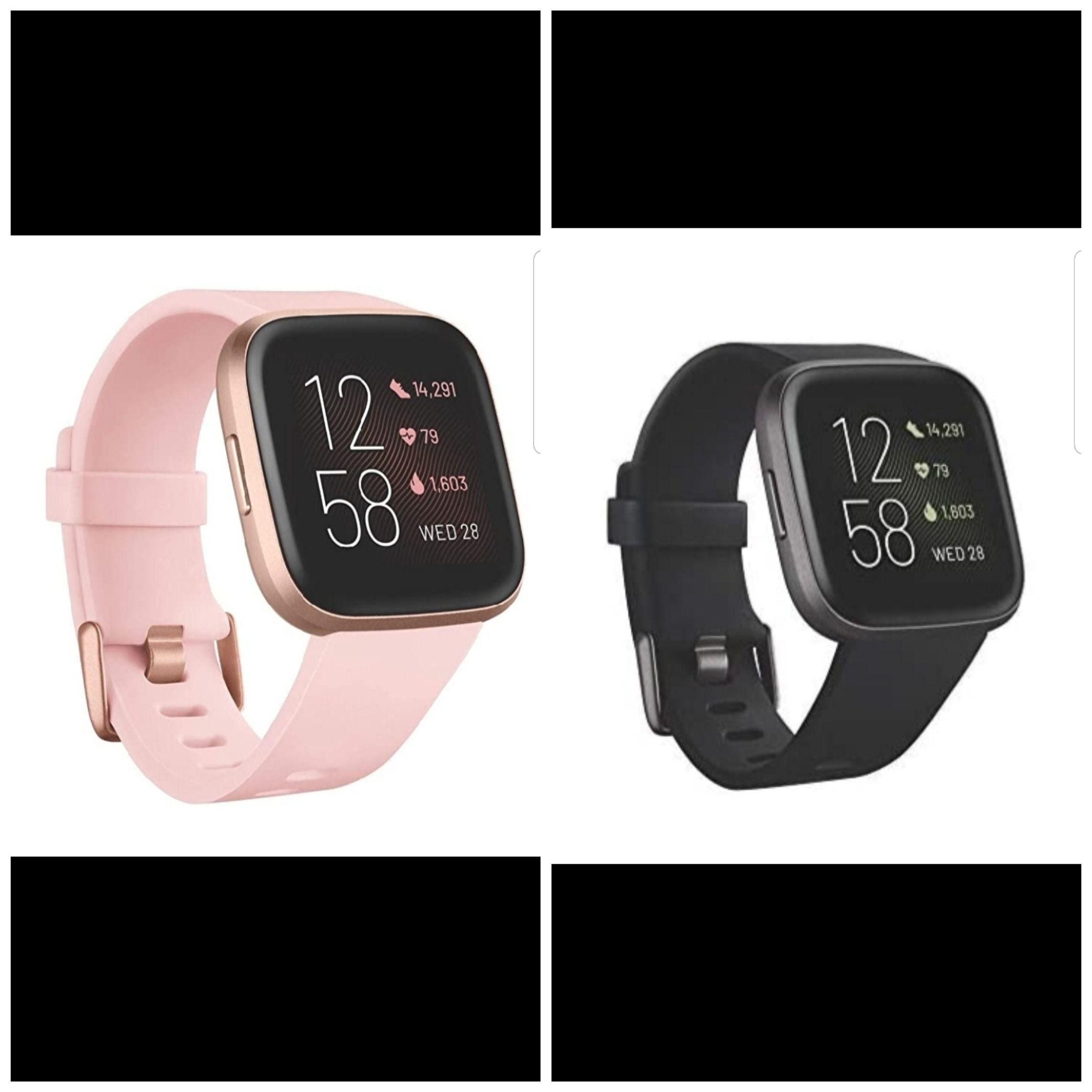 Fitbit Versa 2 – Fitness-Smartwatch Crème/Kupferrose oder Schwarz/Carbon
