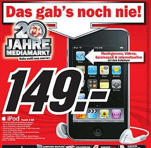 Apple iPod Touch 8GB für 149€ bei Media Markt