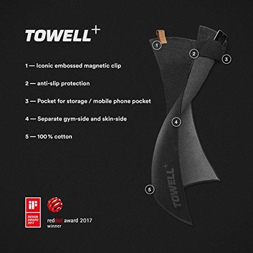 STRYVE Towell Plus V2 Sporthandtuch mit Tasche und Magnetclip, in Rot, Die Höhle der Löwen Gym Handtuch TOWELL+