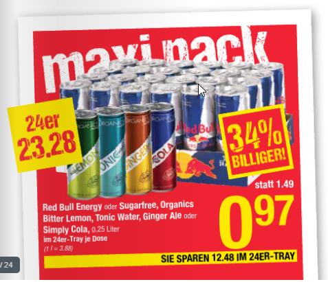 Red Bull um 0,97€ / Dose bei Maximarkt