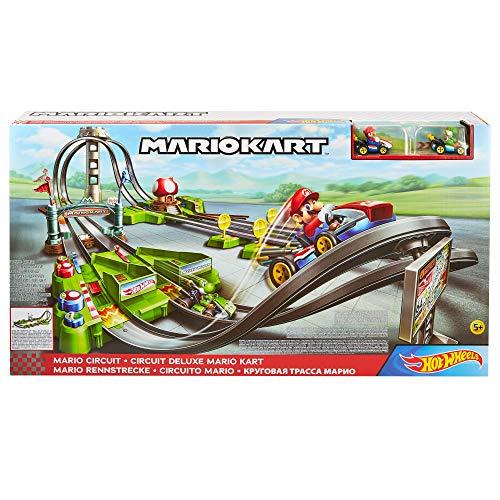 Hot Wheels GCP27 - Mario Kart Mario Rundkurs Rennbahn Trackset Deluxe inkl. 2 Spielzeugautos
