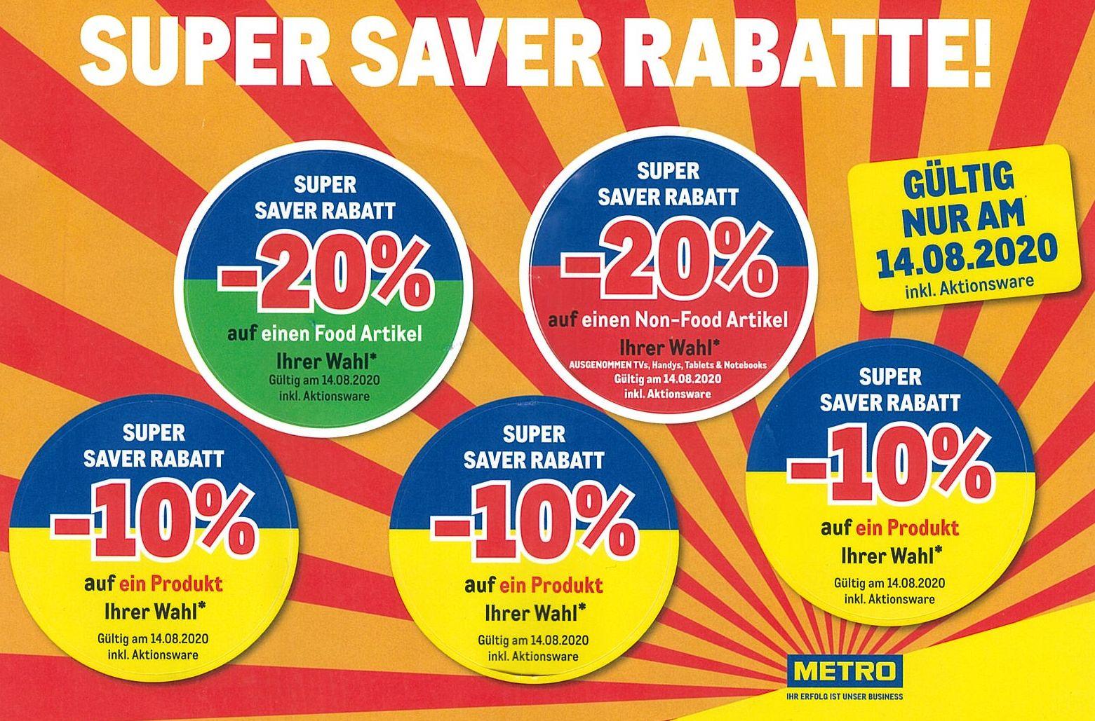METRO: Super Saver Rabatte am Fr. 14.08.2020 (inkl. Aktionen und Abverkauf)