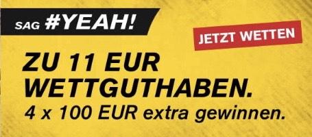 € 11,— Gratiswette und Gewinnspiel