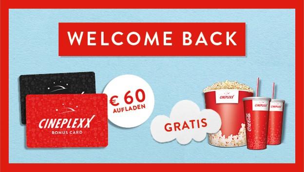 Popcorn XL und 2 x 0,5 l Softdrink (bei 60 Euro Aufladung!!!)
