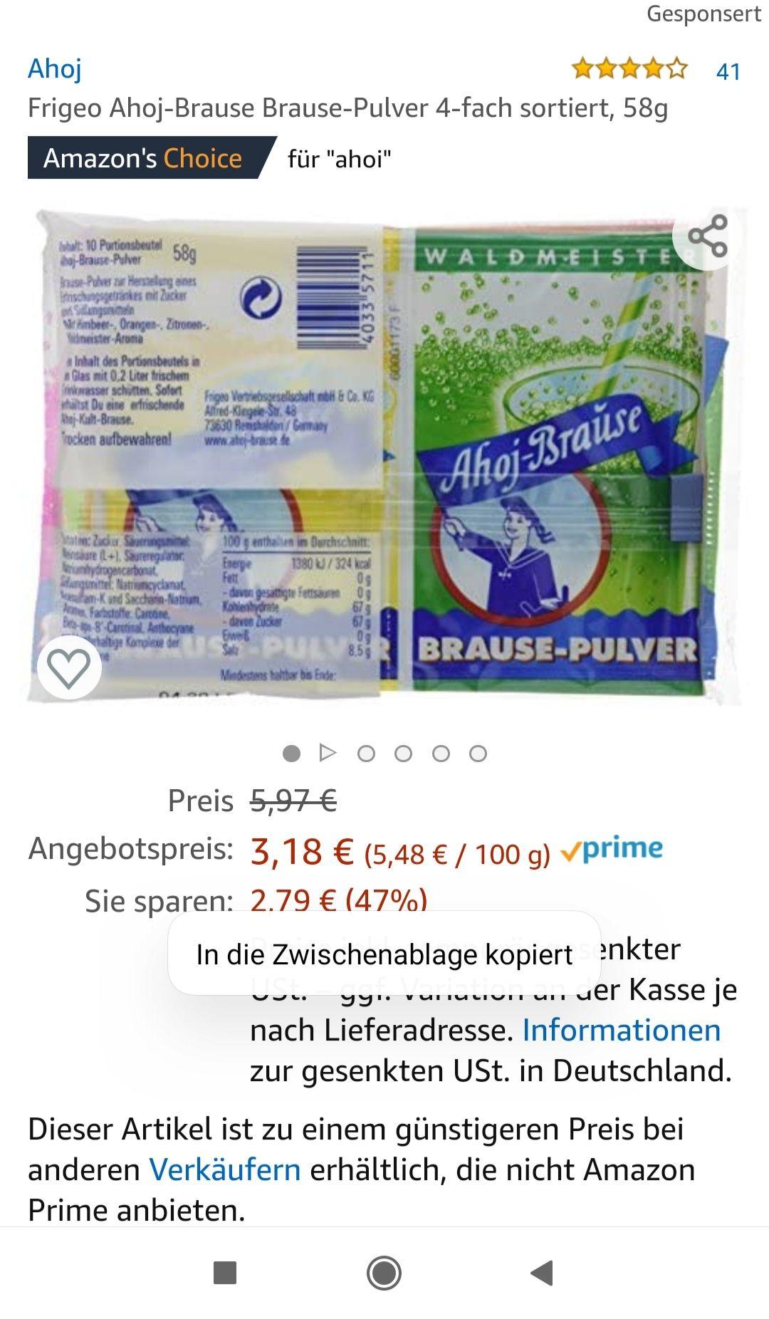 Frigeo Ahoj Brause (10 Beutel gesamt 58 gramm)