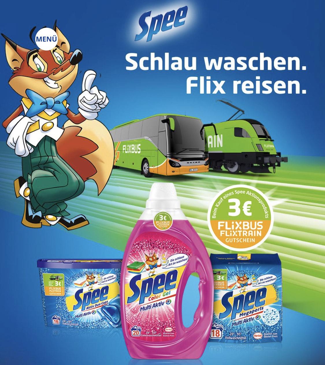 Beim Kauf von Spee 3€ Gutschein für Flixbus/Flixtrain