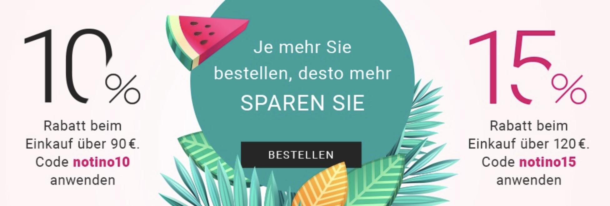 Notino: 10% bzw. 15% Rabatt ab 90€/120€ Einkaufswert