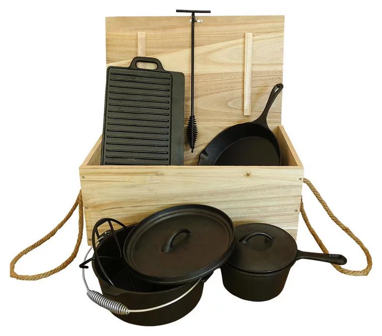 Dutch Oven Set aus Gusseisen: Kochtopf, Steiltopf, Pfanne, Kiste für all eure Kleinteile Deals, uvm