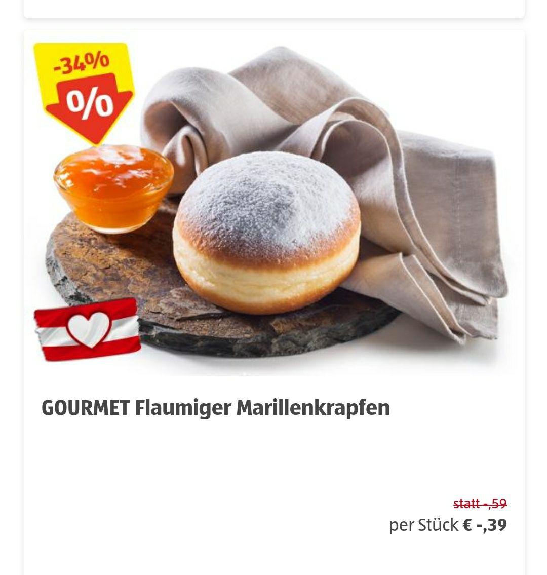 Flaumiger Marillenkrapfen - 0,39 / Vegetarisches Pizzaweckerl 0,59
