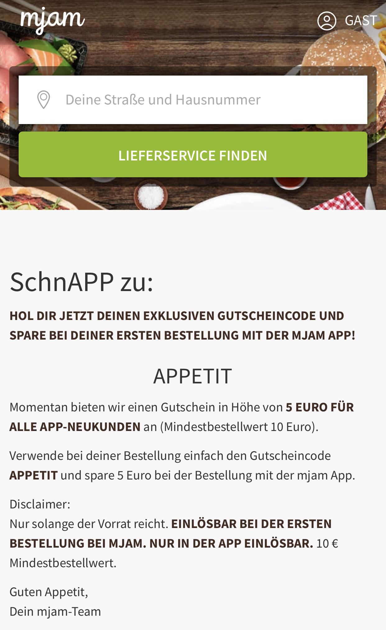 MJAM 5 € Gutschein Neukunden (10 € MBW)