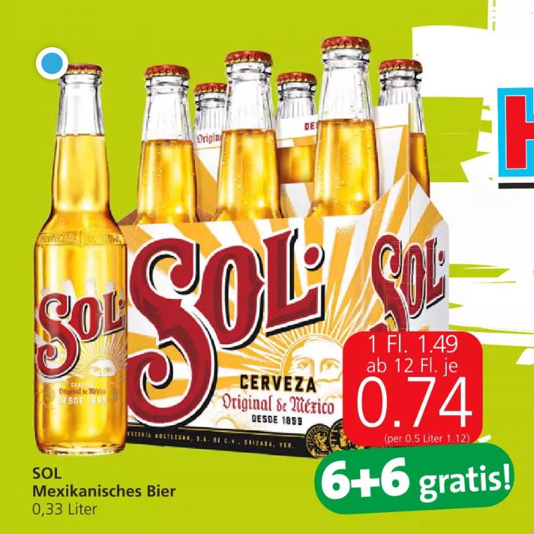 SOL - Mexikanisches Bier (ähnlich Corona) um € 0,55