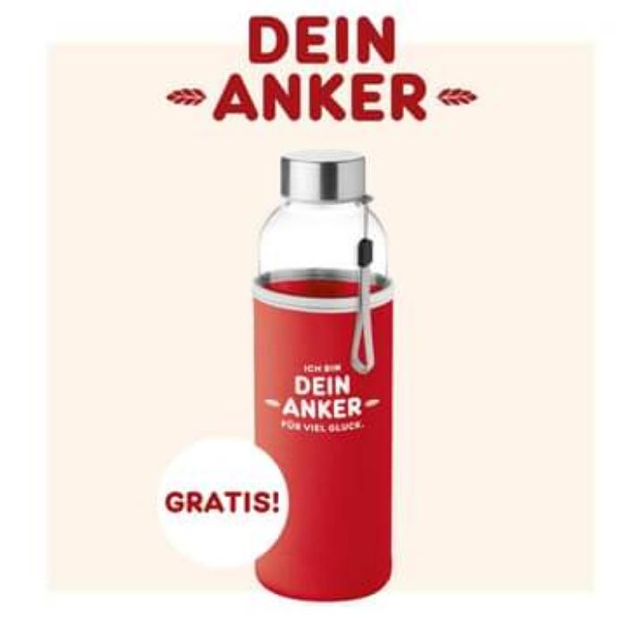 Anker: 10€ Gutschein kaufen und gratis 0,5l Glasflasche bekommen
