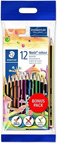 STAEDTLER Noris colour Buntstifte, hohe Bruchfestigkeit, Sechskant, Set mit 12 Farben, Bonuspack + Radierer + Bleistift