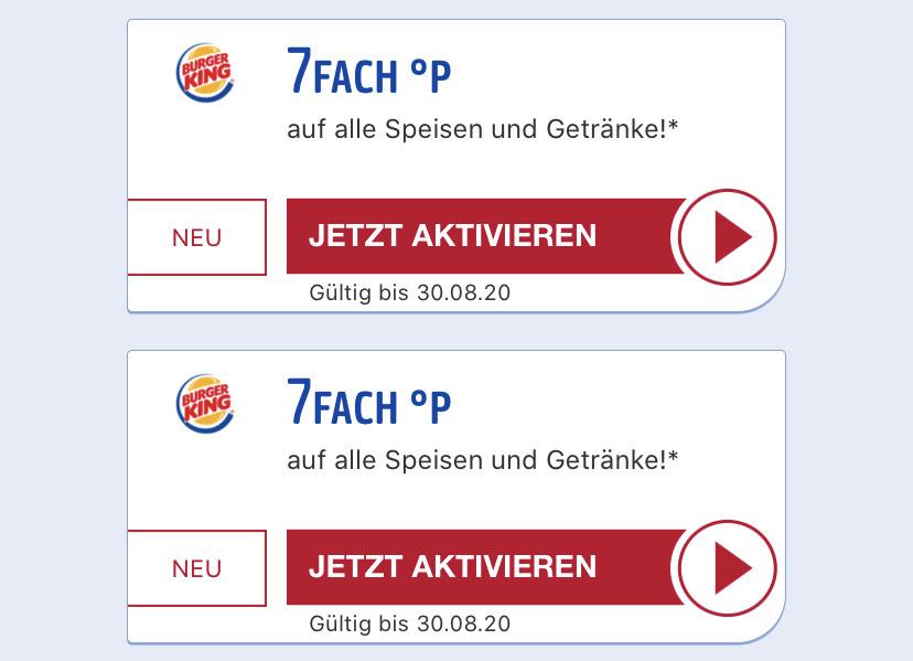 7 Fach Payback Punkte bei Burgerking (entspricht 7% Rabatt)