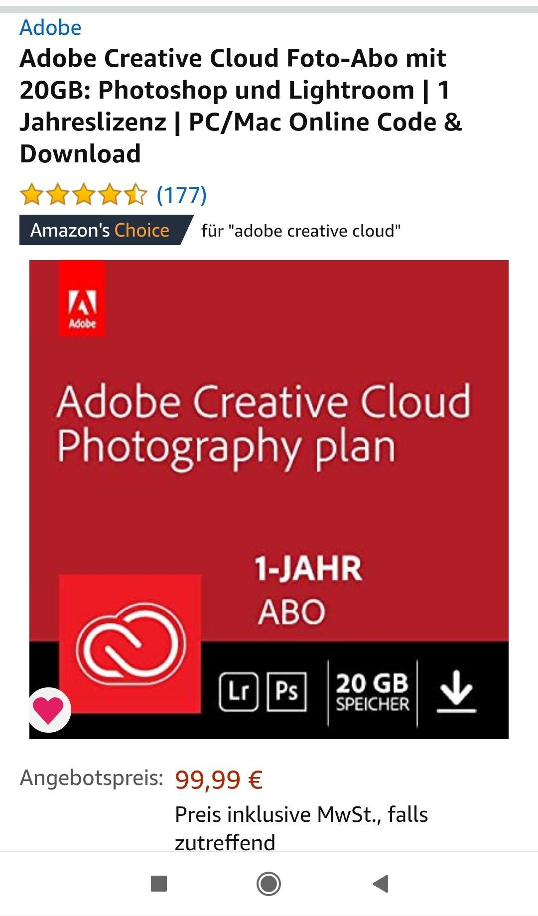 Adobe Creative Cloud 20 gb 1 Jahr