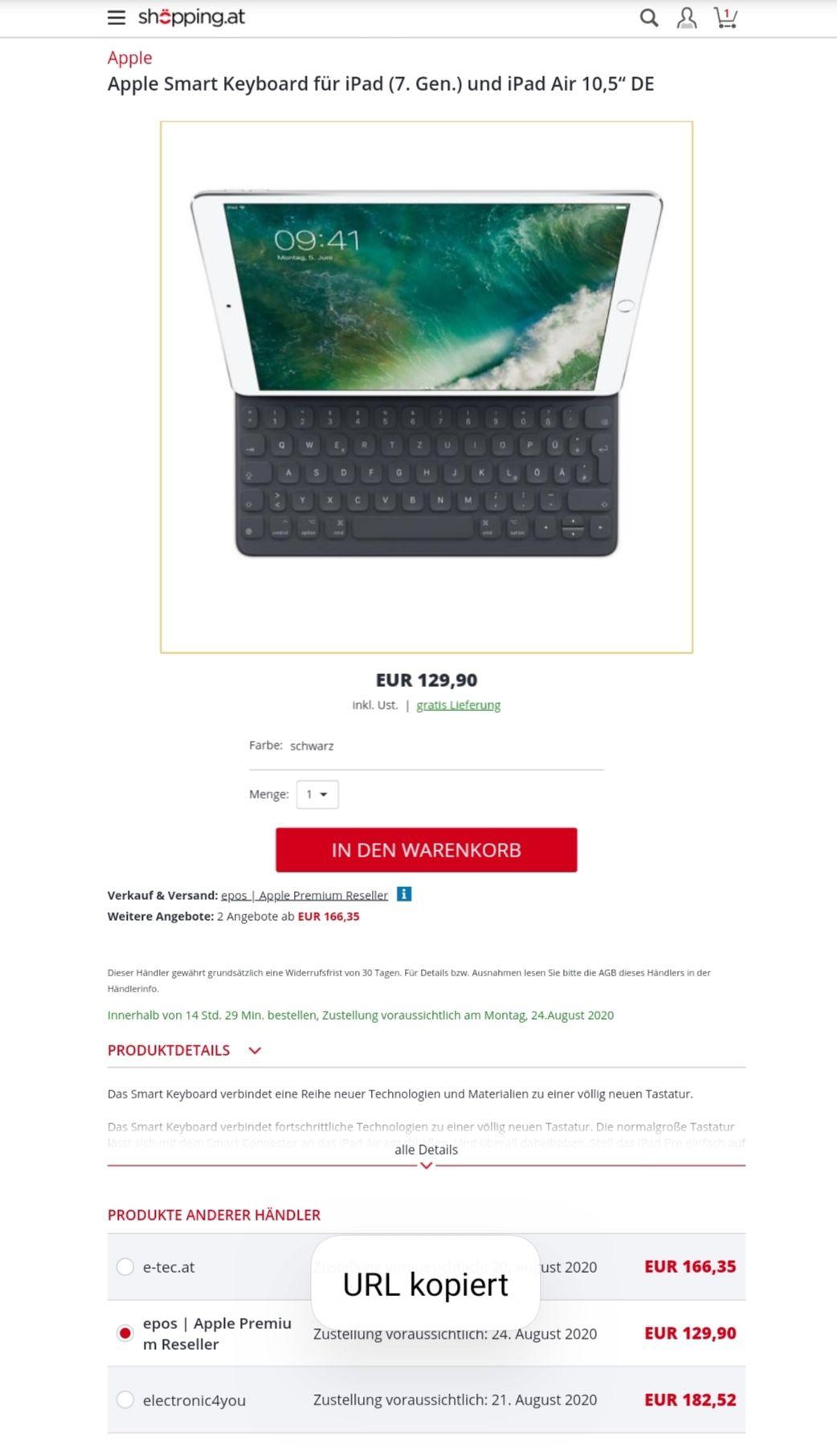 """Österreich Deal - Apple Smart Keyboard für iPad (7. Gen.) und iPad Air 10,5"""" DE"""