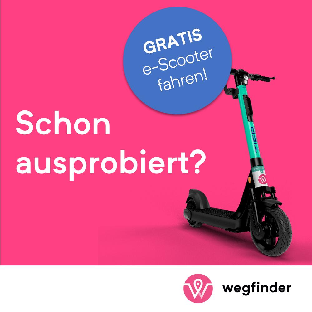 wegfinder.at/ÖBB: 1 oder 3 GRATIS TIER E-Scooter Fahrten