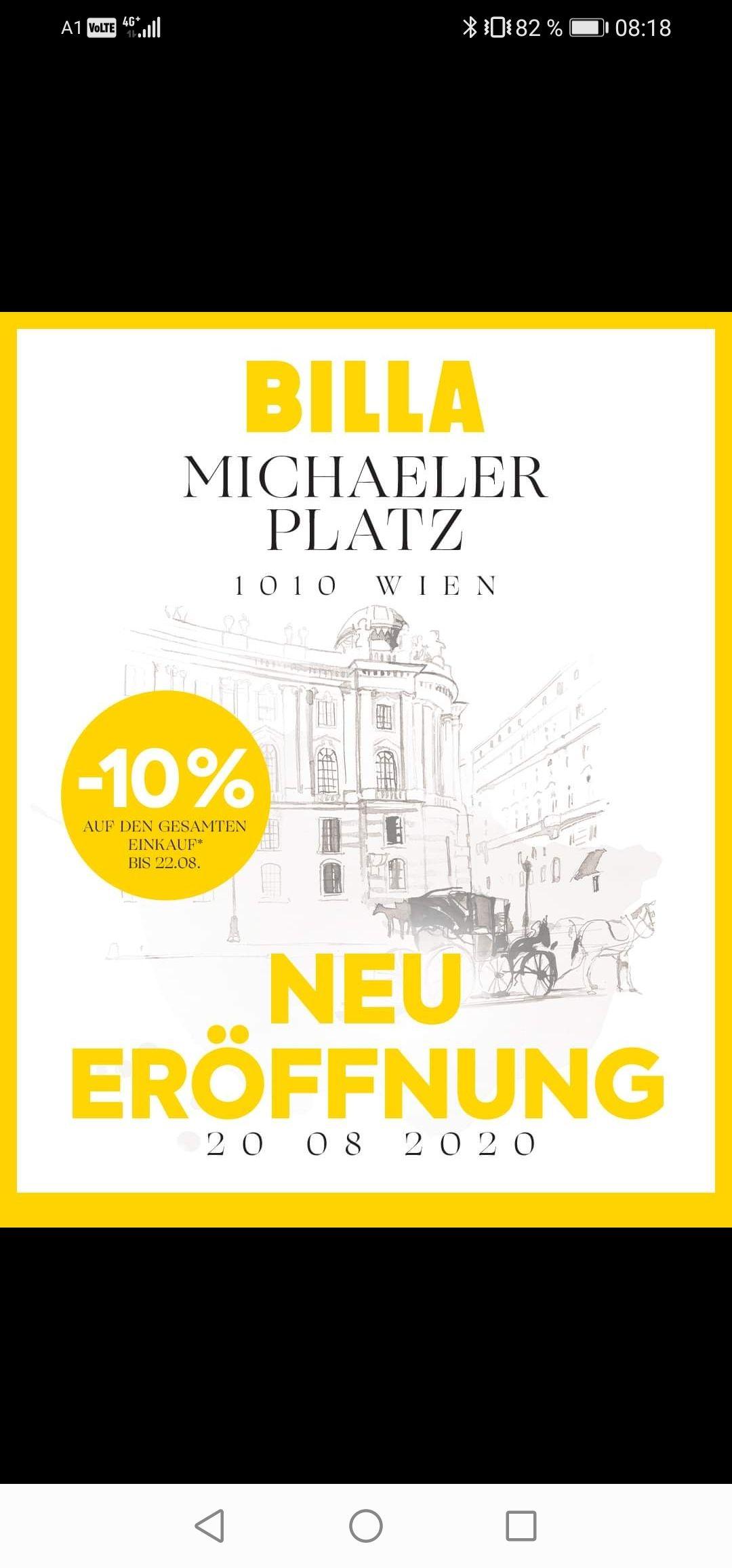 -10% Beim neuen Billa am Michaelerplatz