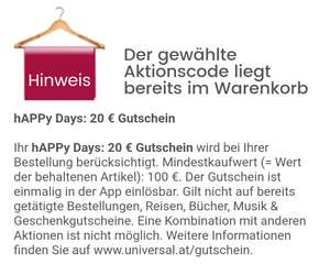 Universal via App 20€ bei 100€ MBW