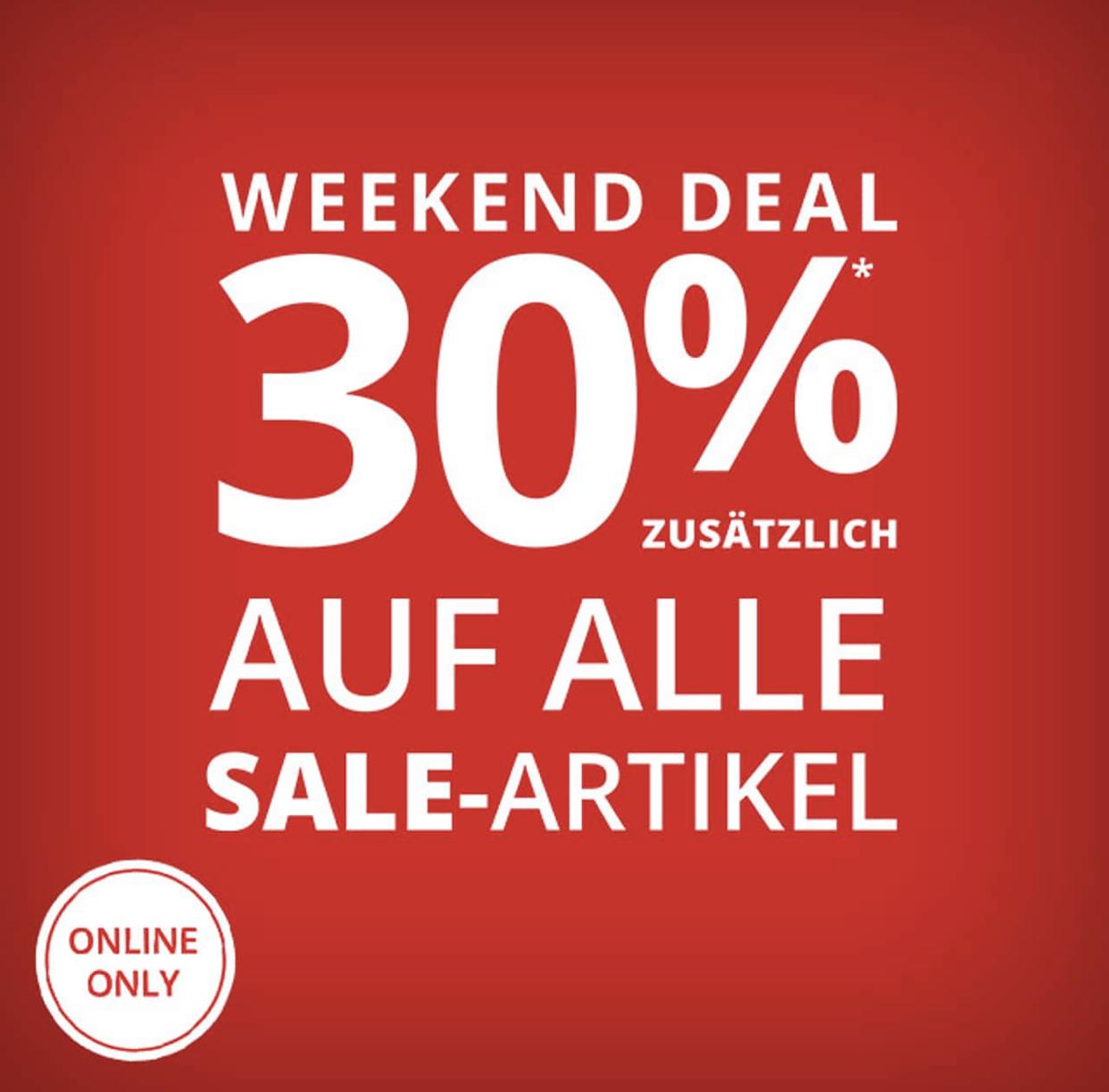 Peek & Cloppenburg: 30% Extra-Rabatt auf alle Sale-Artikel