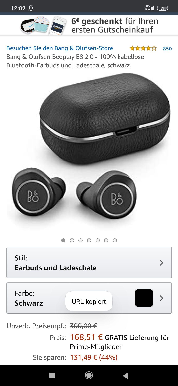 Bang & Olufsen Beoplay E8 2.0 - 100% kabellose Bluetooth-Earbuds und Ladeschale, schwarz