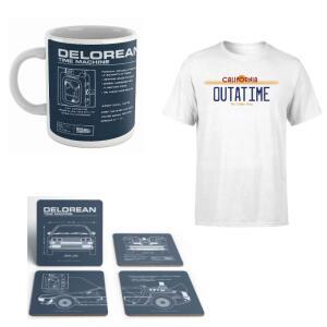 Zurück in die Zukunft-Bundle bestehend Tasse, Untersetzerset & T-Shirt + kostenloser Versand