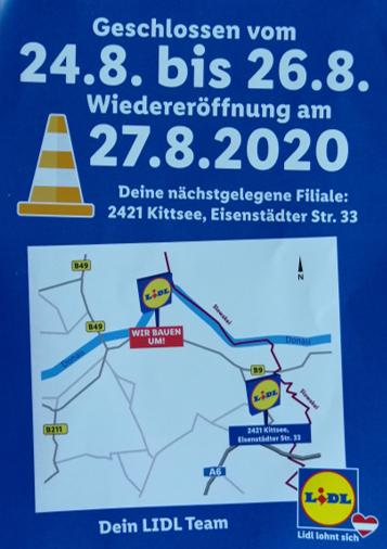 Lidl in Hainburg Wiedereröffnung: 100x 20€ GS, Kaffee gratis, 10€ GS (Einkauf ab 100 €), 15% Rabatt