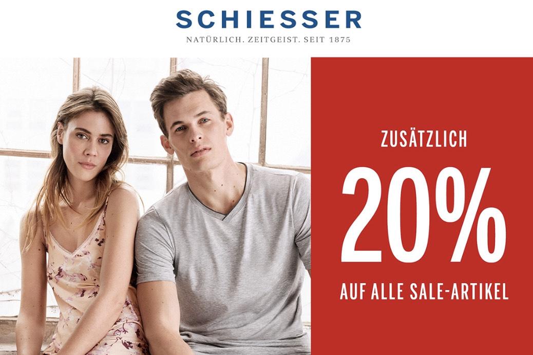 Schiesser: 20% Extra-Rabatt auf alle Sale-Artikel