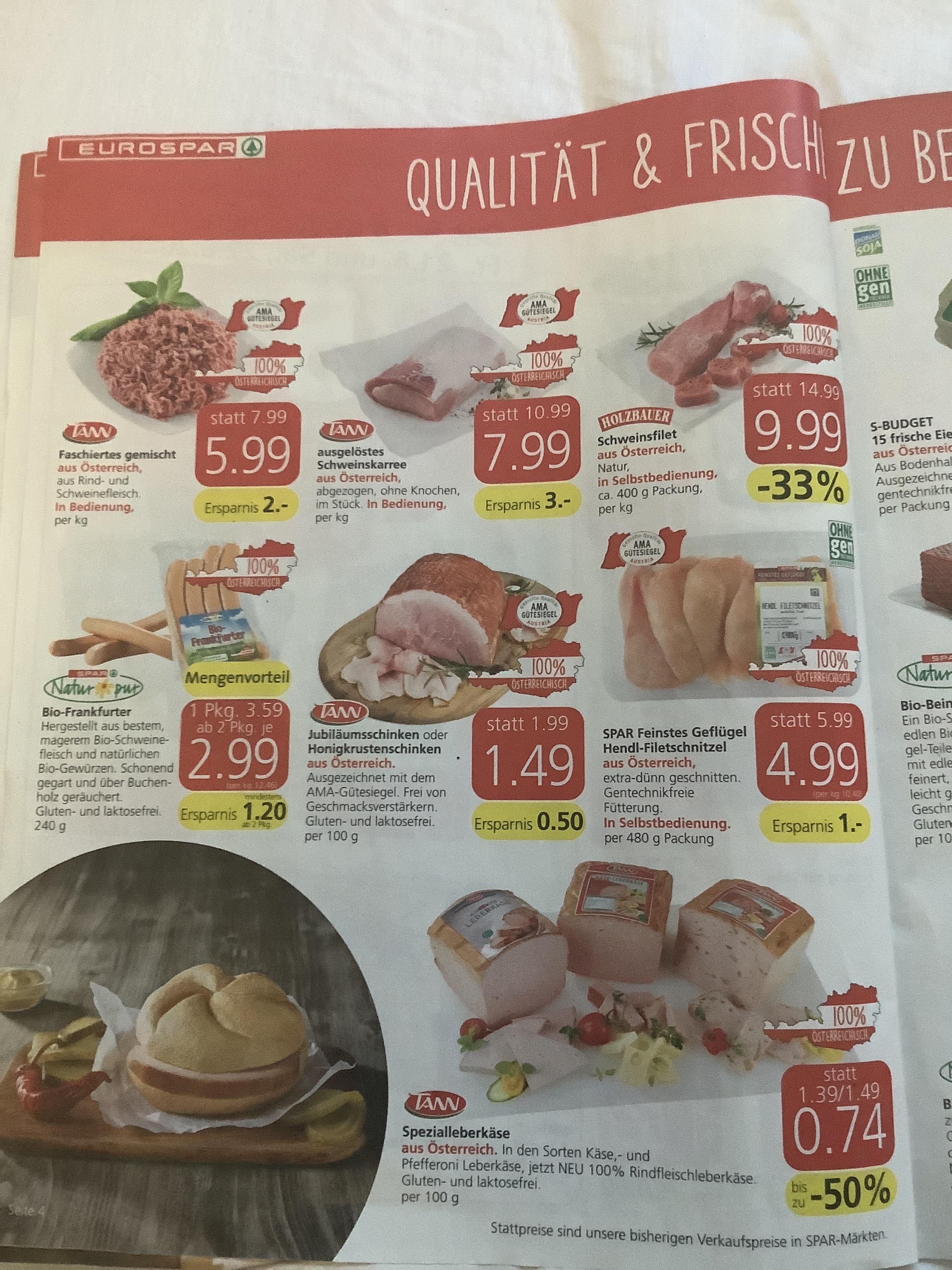 Spar Spezialleberkäse TOP Preis mit 25 % Pickerl