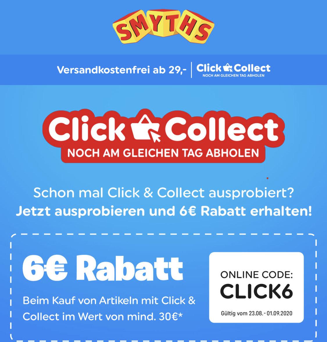 Smyths 6€ Rabatt ab €30 bei Click & Collect