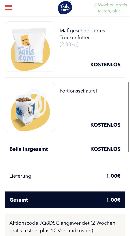 2 Wochen individuelles Hundefutter für 1€