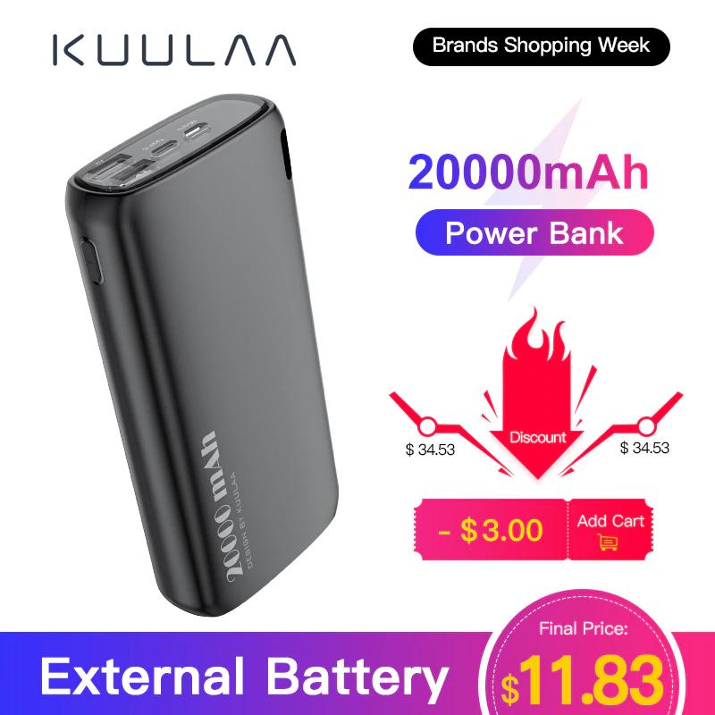 KUULAA Power Bank 20000mAh - 2x Output 5V/2.1A - 2x Input 5V/2.0A (Aliexpress)