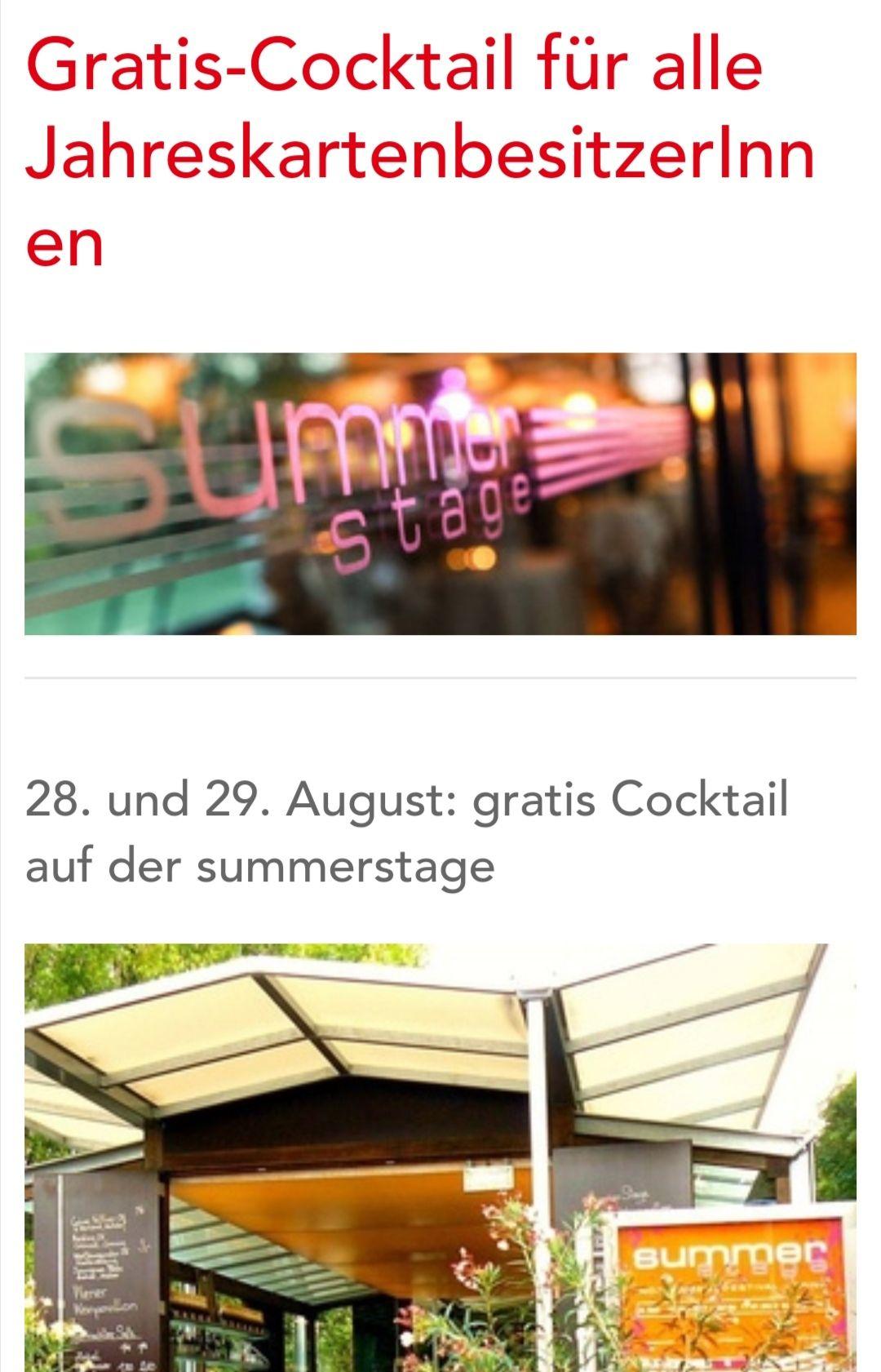 Gratis Cocktail mit Wiener Linien Jahreskarte [Summer Stage]