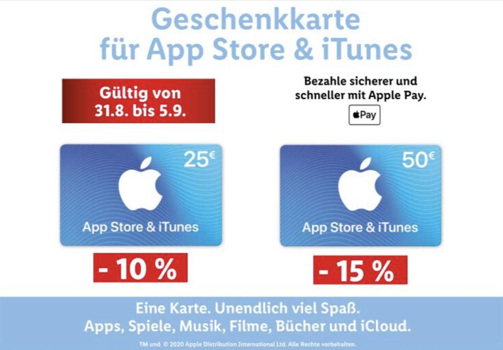 Geschenkkarten für iTunes & App Store bei Lidl
