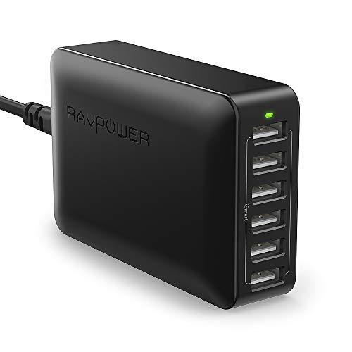 RAVPower RP-PC028 - 60W / 6 Port USB-Ladegerät 12A/max (Schwarz + Weiß)