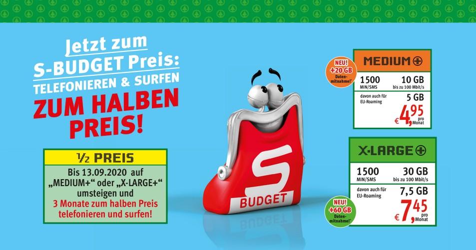 3 Monate -50 % auf S-Budget Mobile Tarife