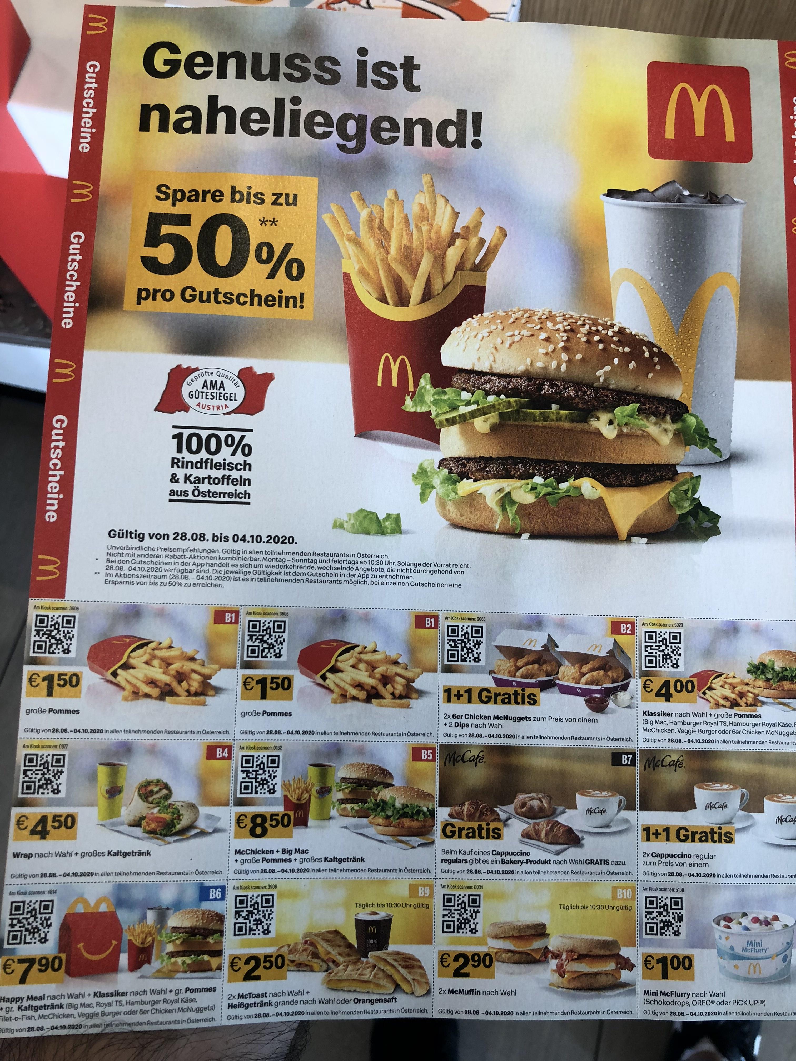 [McDonalds Gutscheine] Wieder da zw. 28.8-4.10.2020