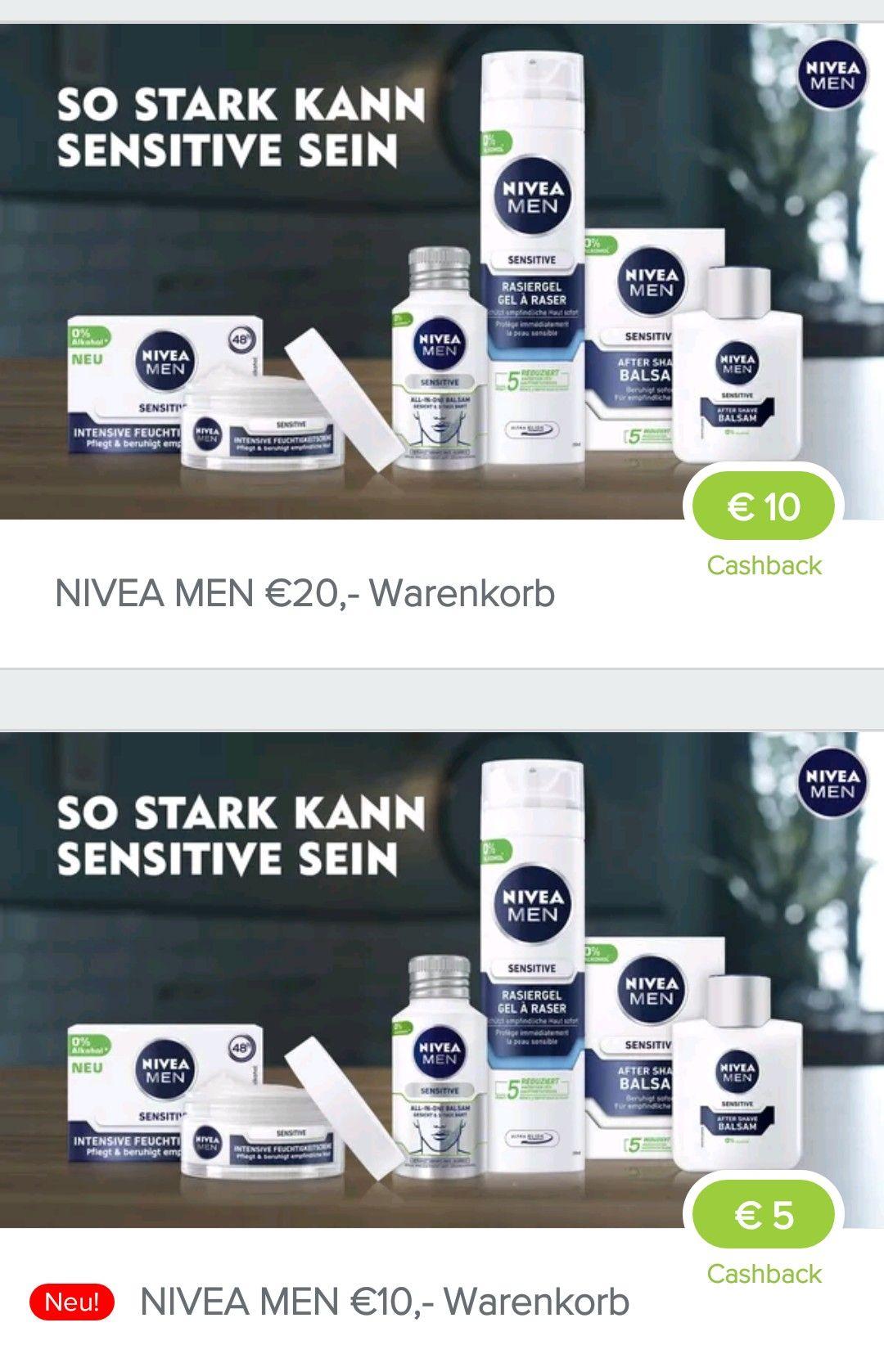 [Marktguru] 5 Euro Cashback bei 10 Euro Einkauf von Nivea Man Produkten bzw 10 CB bei 20 Euro