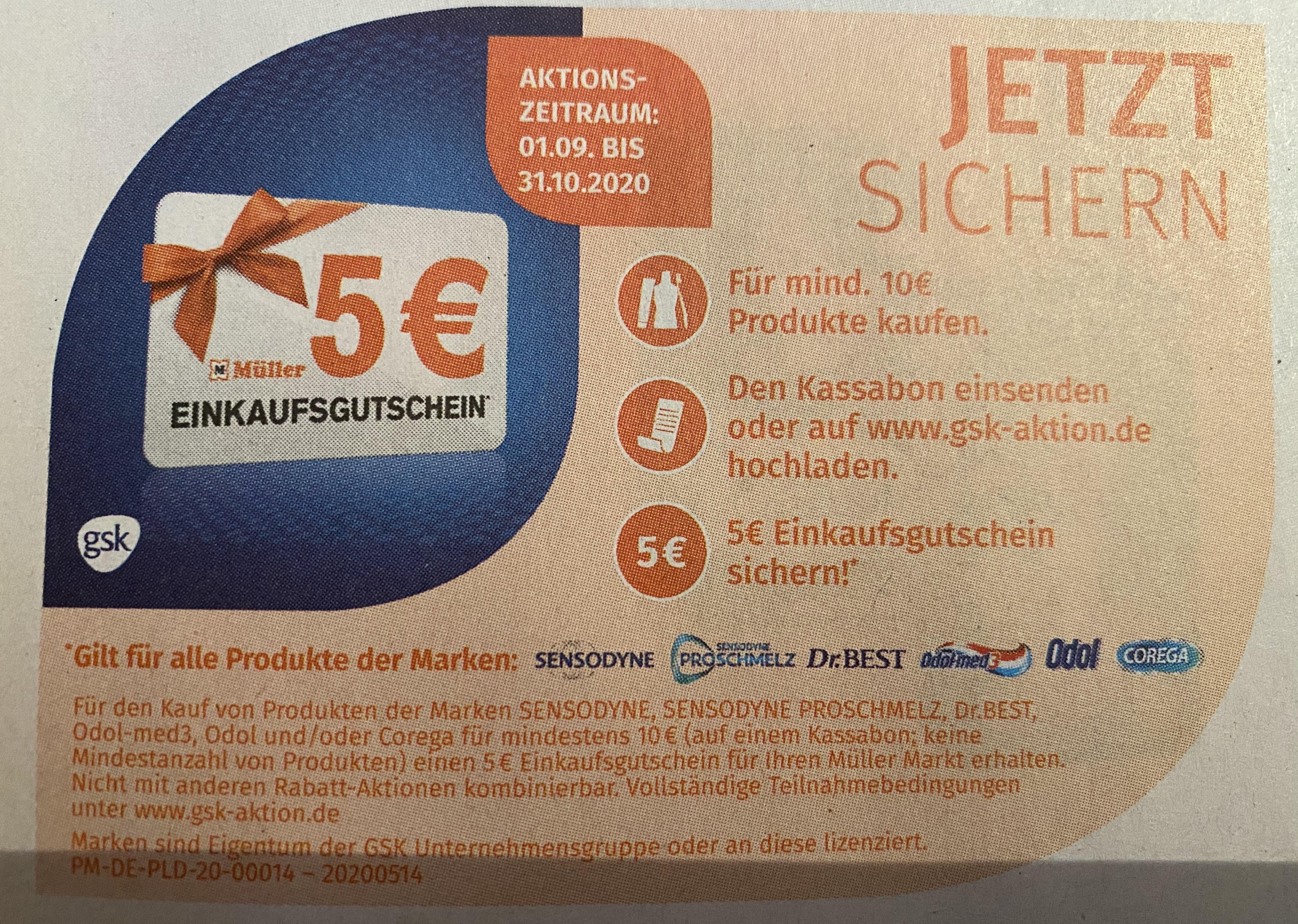 5€ Müller Einkaufsgutschein sichern