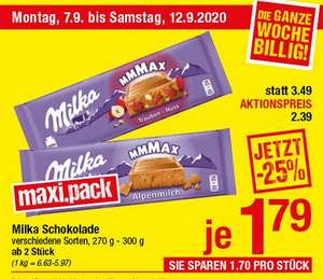[Maximarkt] Milka Schokolade verschiedene Sorten, 270g - 300g, ab 2 Stück