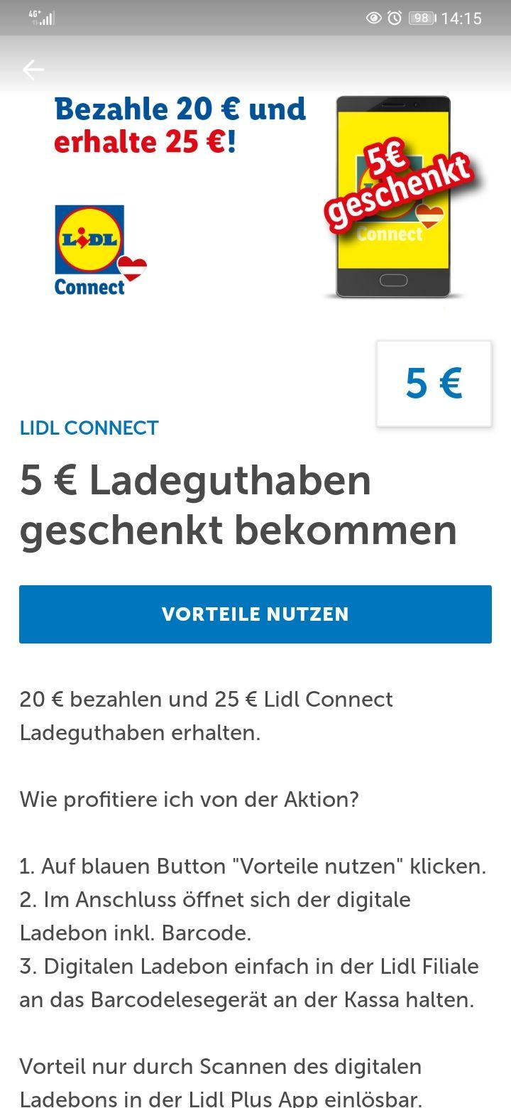 Lidl-Plus App: 5 € Ladeguthaben zusätzlich auf einen 20 € Ladebon für Lidl-Connect seit 02.06.2020