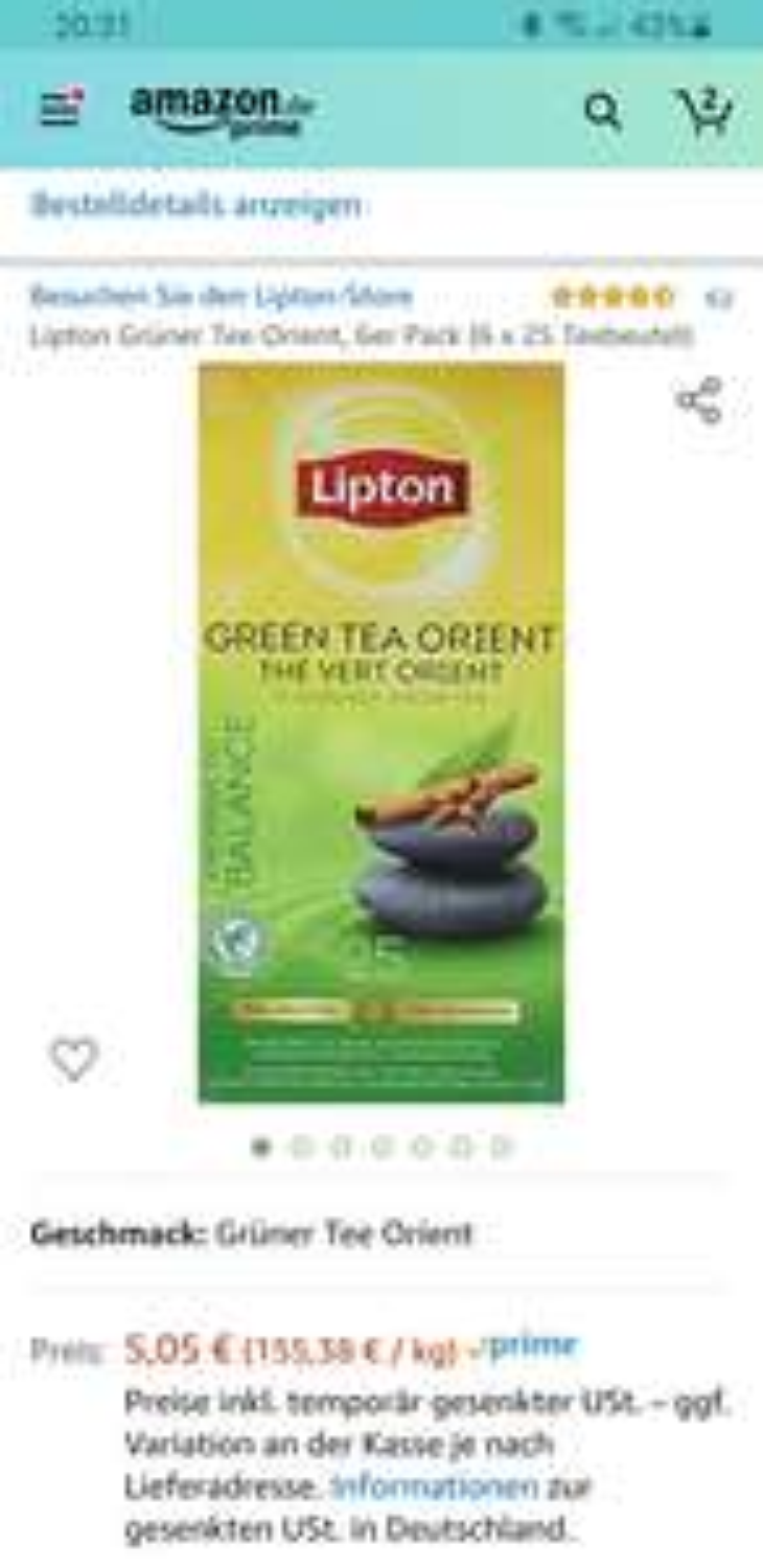 Lipton Grüner Tee Orient, 6er Pack (6 x 25 Teebeutel)