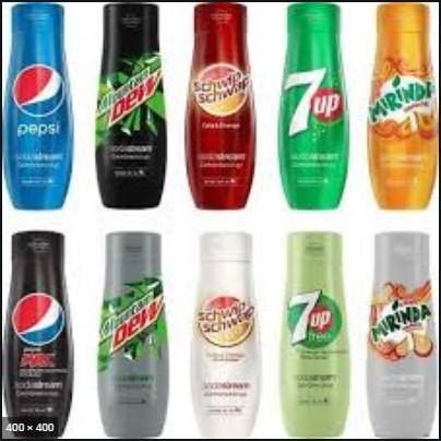 Verschiedene Sorten Sodastream Sirup Von Pepsi bis 7 Up
