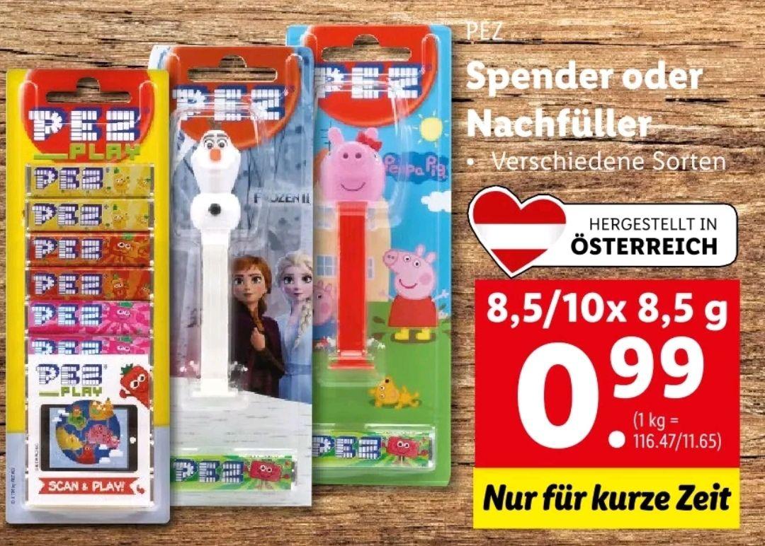 PEZ Spender oder Nachfüller um 0,50€ bei Lidl in Kombination mit Marktguru
