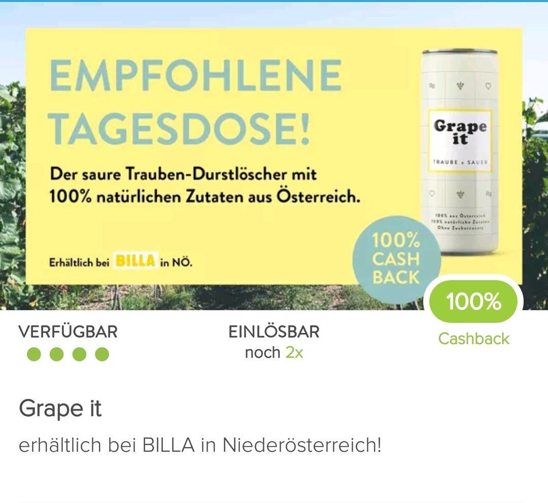 Marktguru + Billa in NÖ: 100 % Cashback auf 2 Dosen Grape it